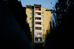 A view of an apartment building in Kranj, Slovenia, on March 20, 2020, during the coronavirus outbreak nationwide lockdown when people are asked to stay at home.