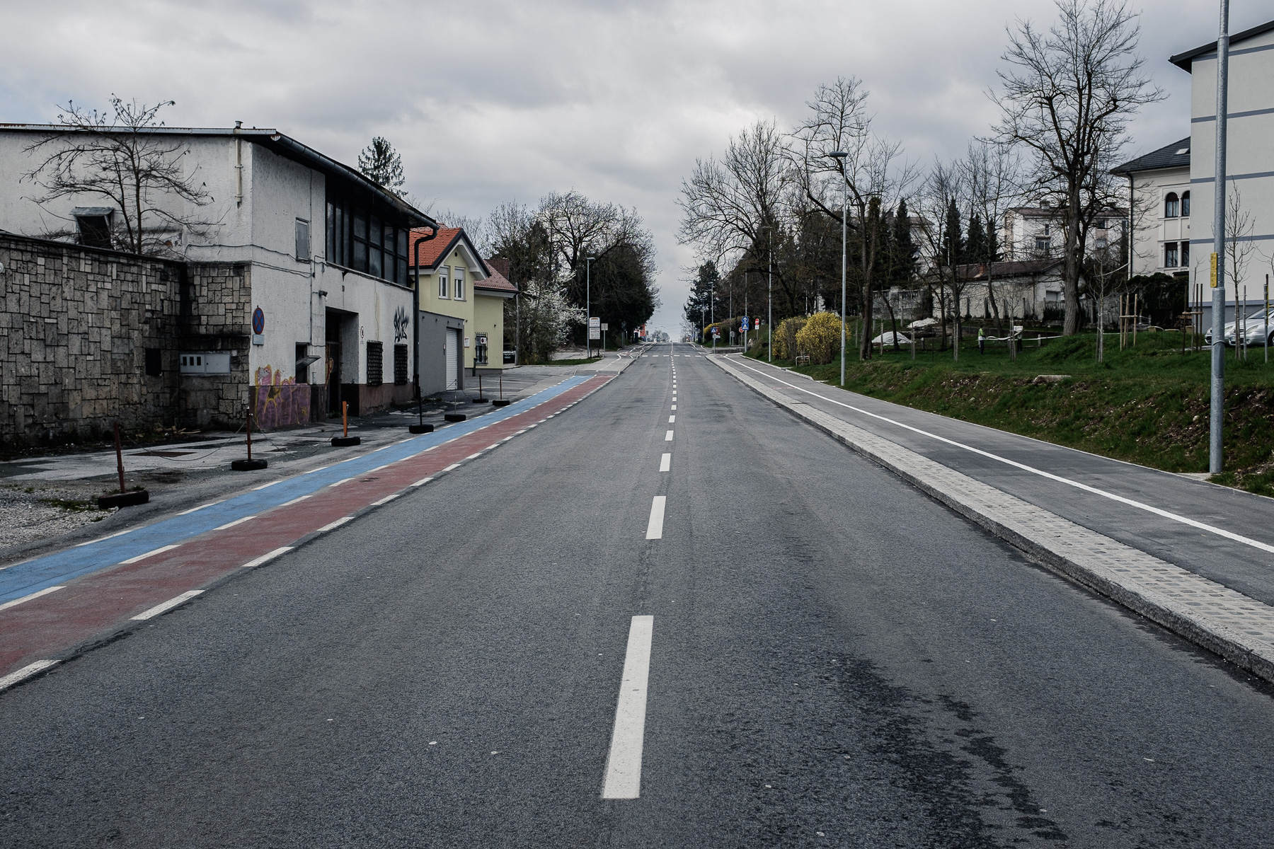 An empty road and sidewalks in the town of Kranj, Slovenia, during the coronavirus outbreak nationwide lockdown on March 22, 2020.