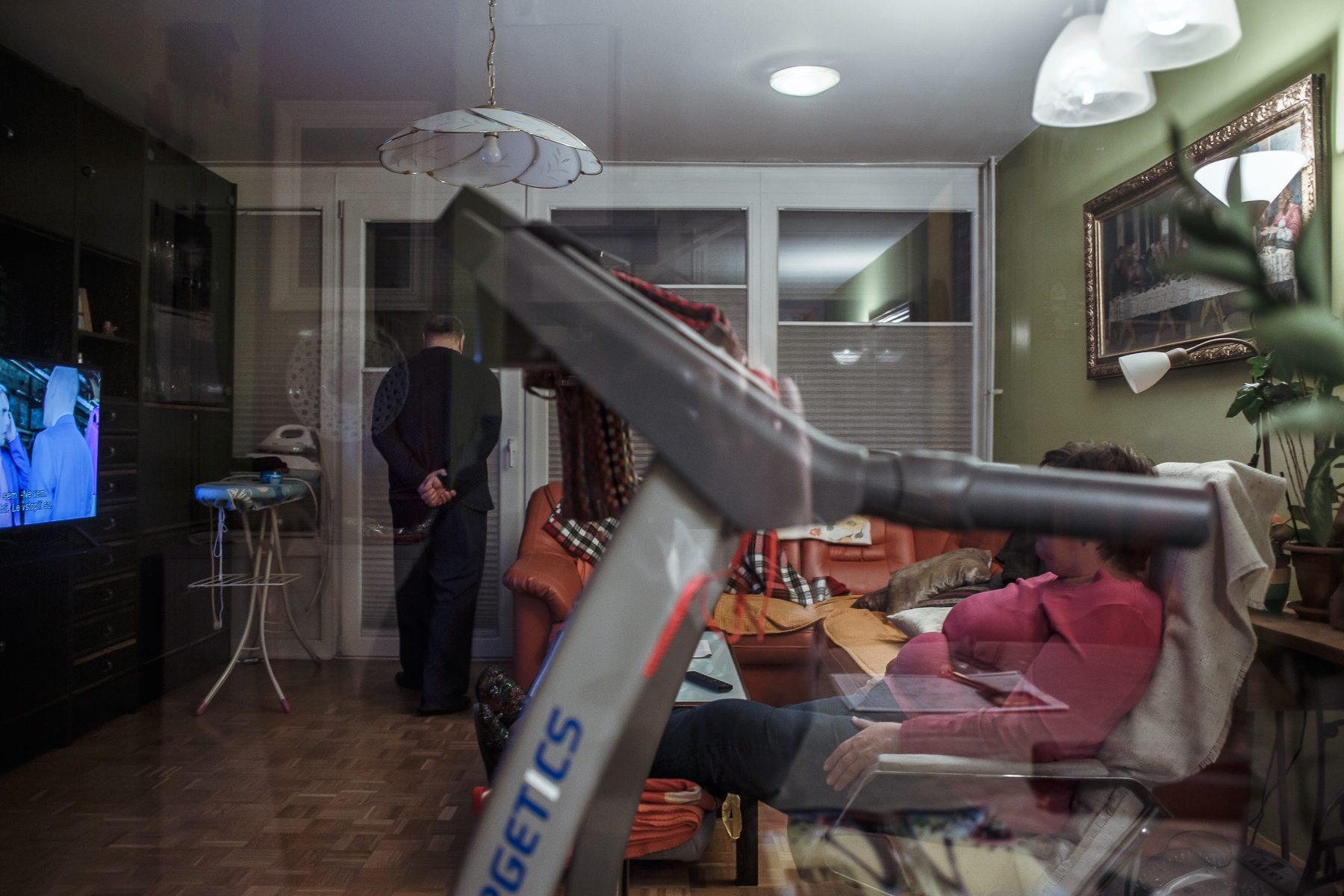 Residents of an apartment building in Kranj, Slovenia, spending their time at home during the coronavirus epidemic on April 3, 2020.