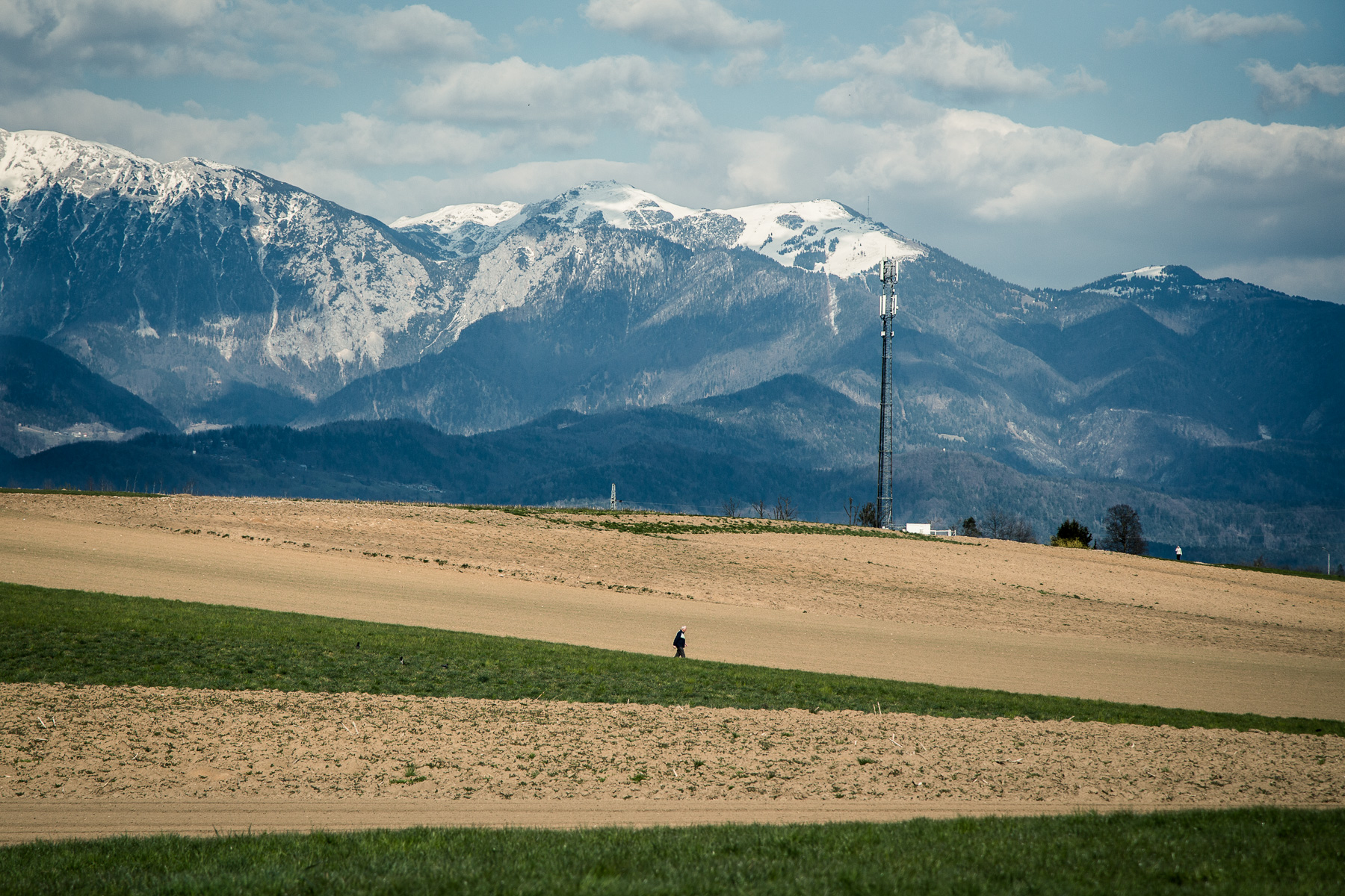 A man walks across a field on the outskirts of Kranj, Slovenia, on April 4, 2020.