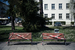 Benches are seen taped over as strict outdoor activities and social distancing measures are implemented in Kranj, Slovenia.