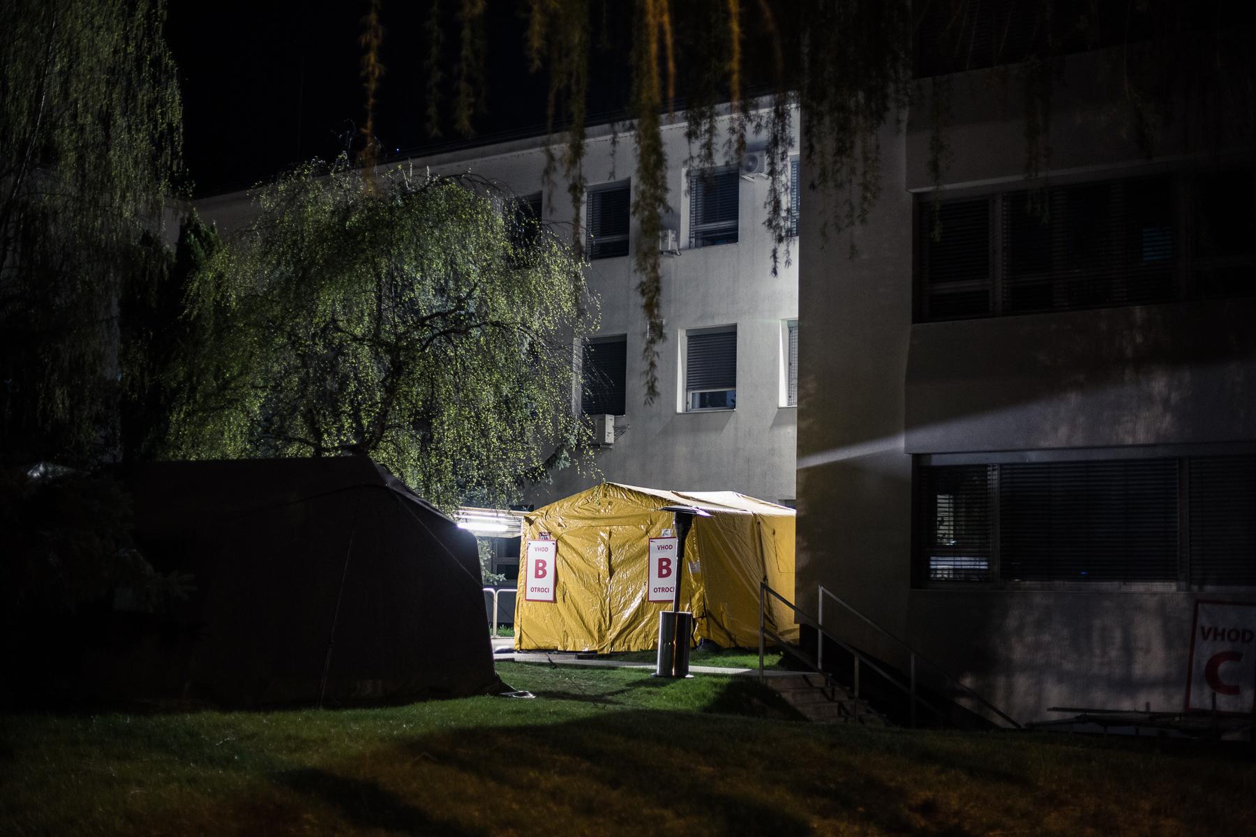 A coronavirus (COVID-19) testing tent outside a medical center in Kranj, Slovenia, on April 12, 2020.