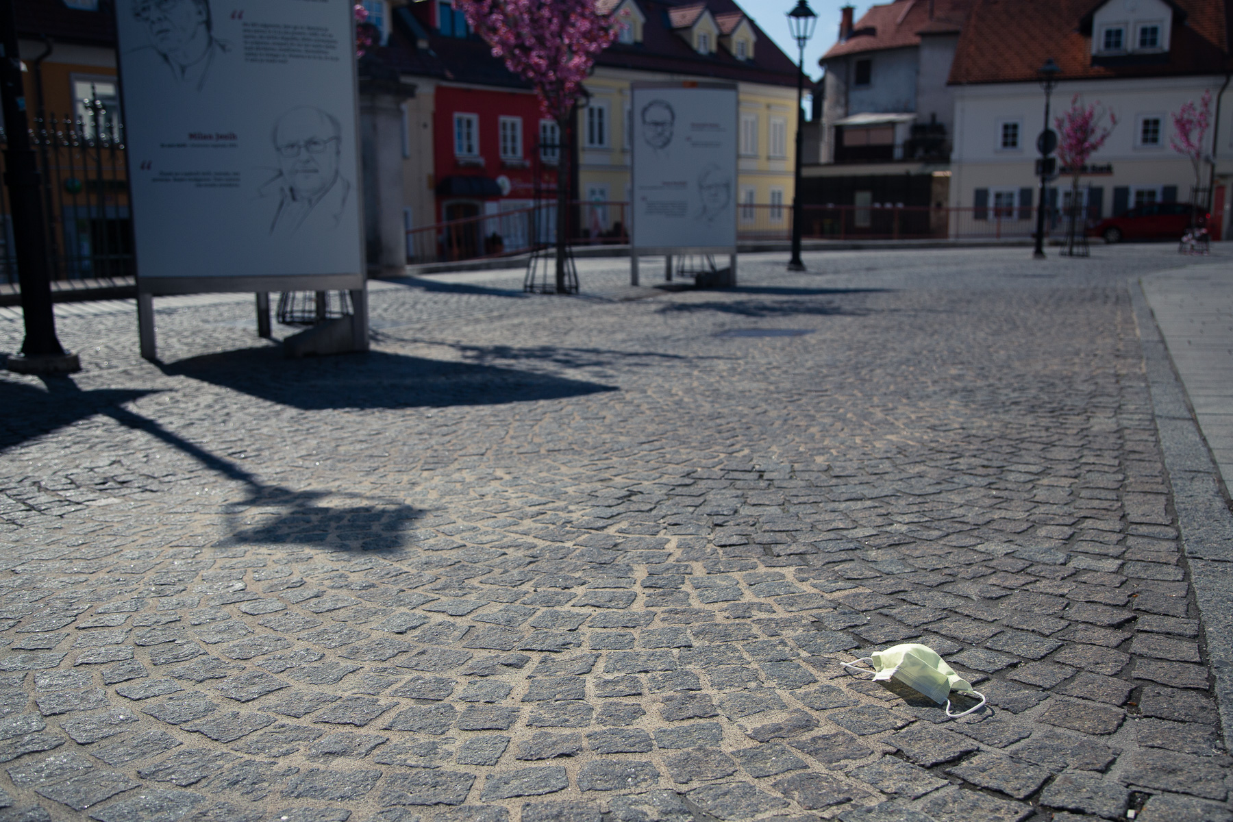 A discarded face mask lies in the street of Kranj, Slovenia, a month into a nationwide quarantine when the epidemic began to wane. The government also started to consider loosening the measures.