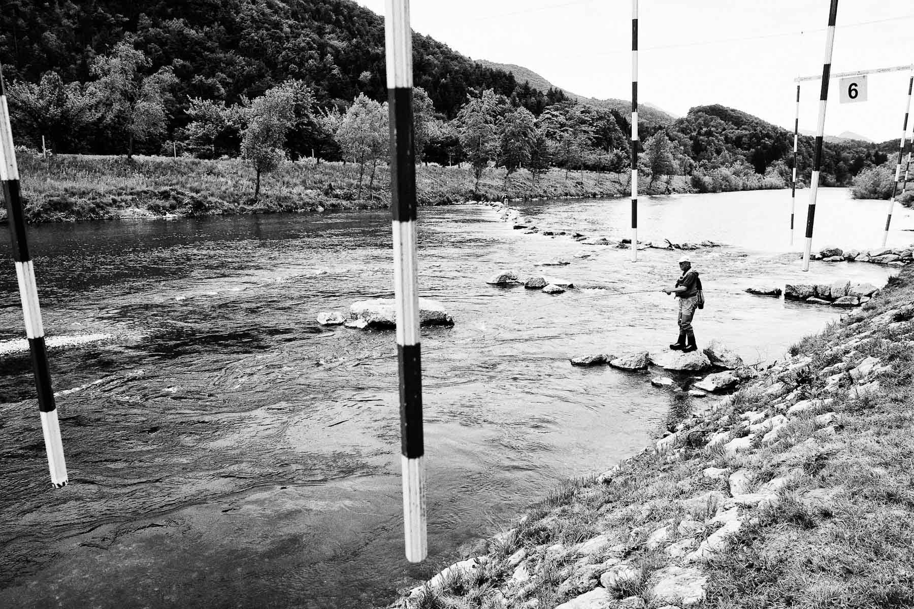 Branko Puncuh competes at the National Fly Fishing Championship competition in Celje, Slovenia, May 8, 2011.