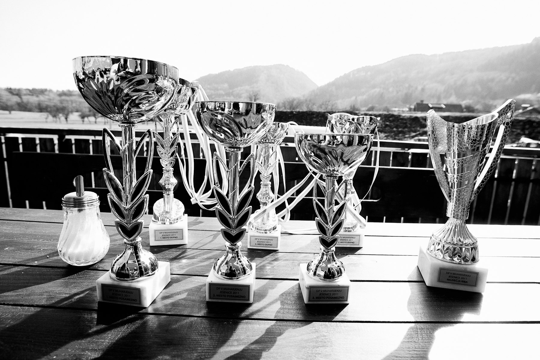 Trophies wait on a table at a restaurant terrace where the award ceremony of the National Fly Fishing Championship competition in Jesenice, Slovenia, took place on April 3, 2011.