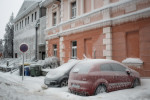 Cars and buildings are covered in thick layer of ice in Postojna, Slovenia, February 5 2014.