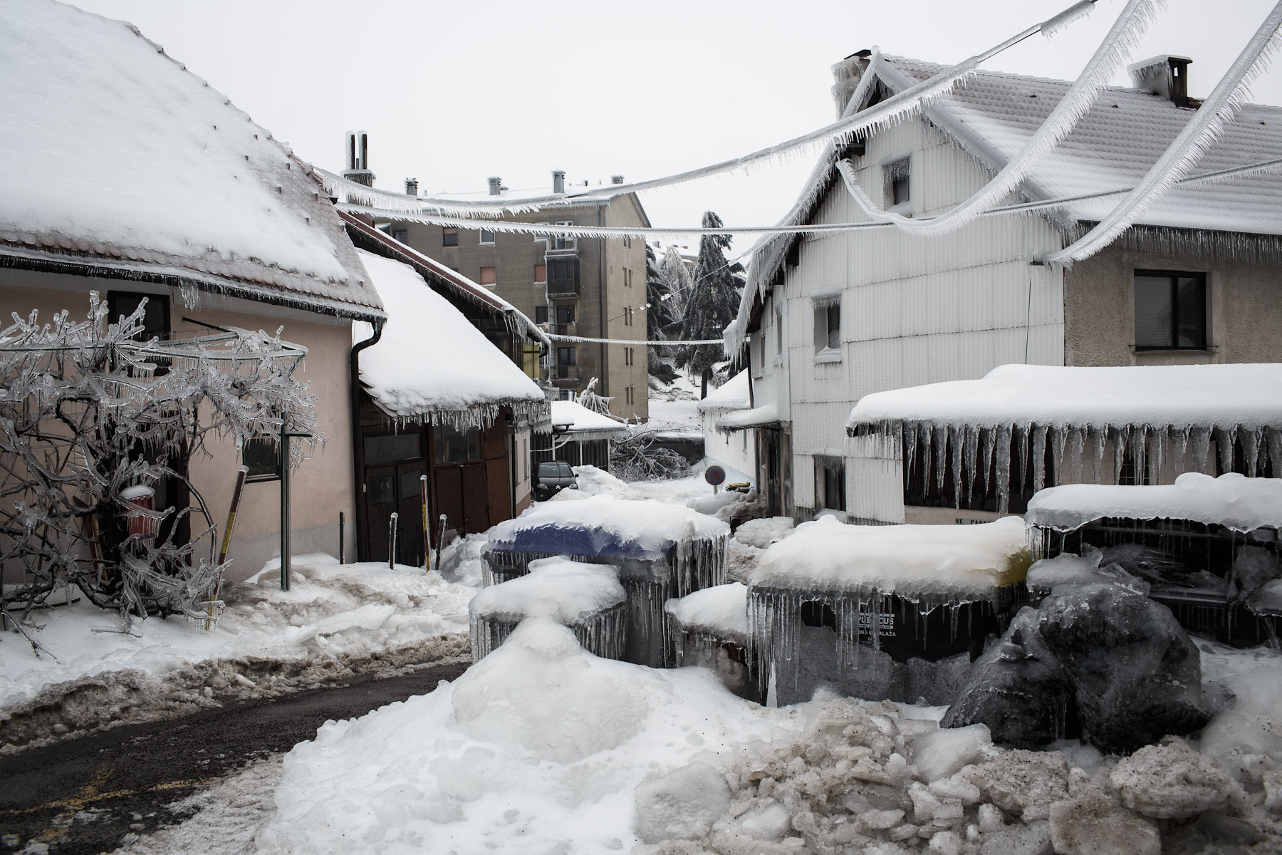 A street is engulfed in ice in Postojna, Slovenia, February 5 2014.