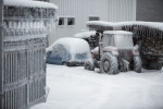 A tractor is covered in ice in Postojna, Slovenia, February 5 2014.