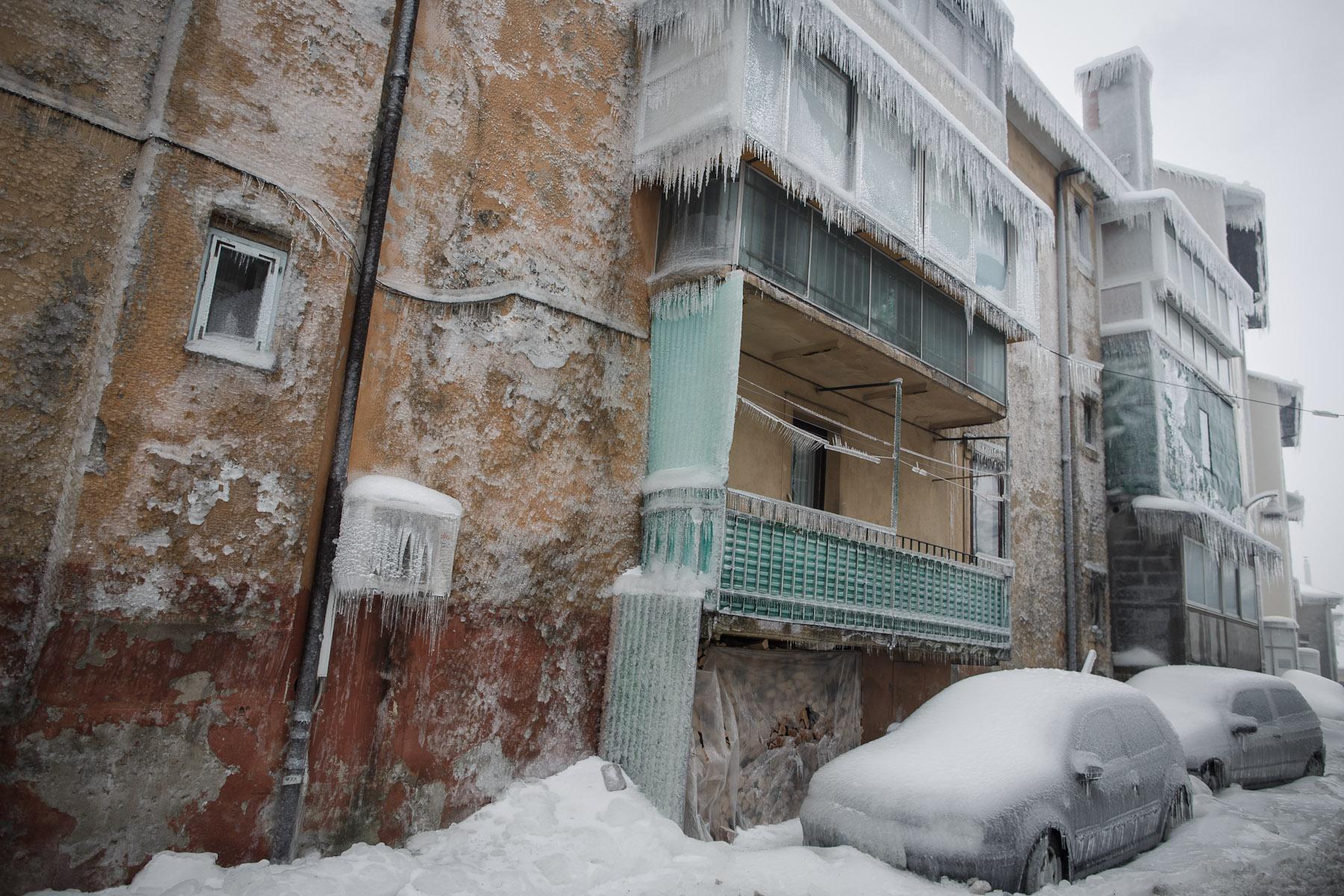 A street is seen engulfed in ice in Postojna, Slovenia, February 5 2014.