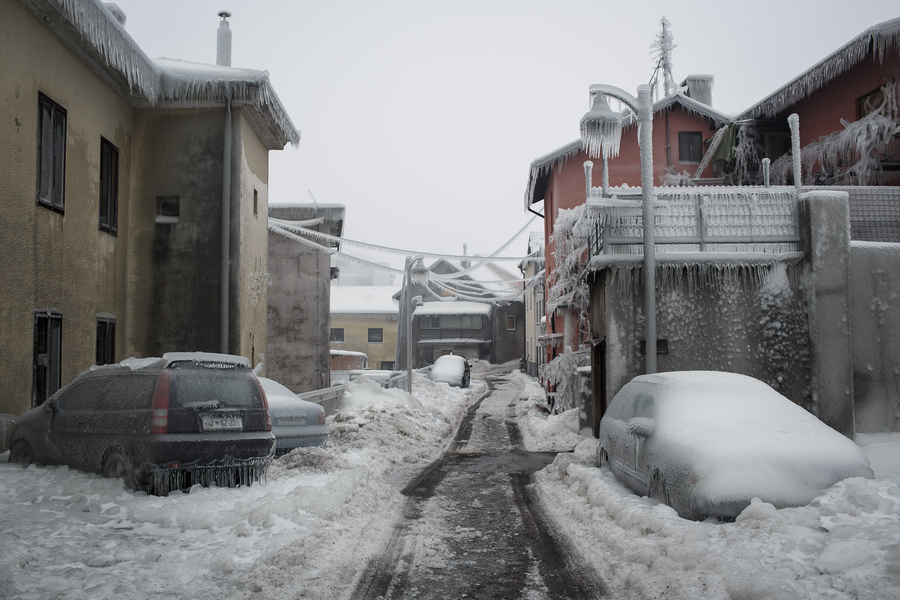 A frozen street is seen in Postojna, Slovenia, February 5 2014.