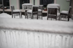 A terrace of a hotel is seen covered in ice in Postojna, Slovenia, February 5 2014.