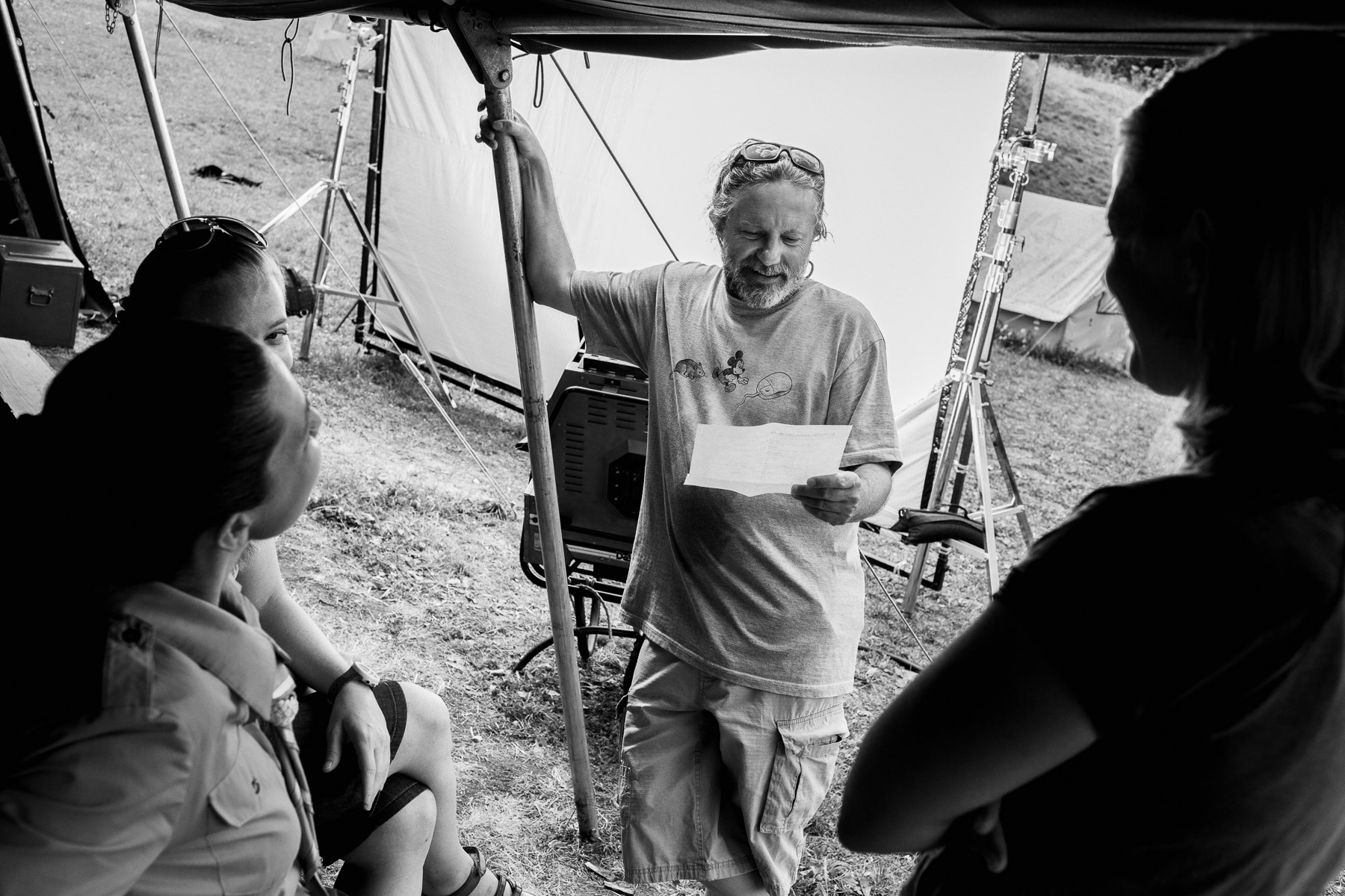 Director Miha Hočevar on the set of Going Our Way 2.