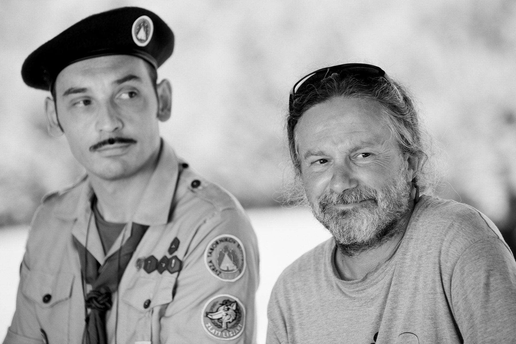 Actor Tadej Toš and director Miha Hočevar on the set of Going Our Way 2.