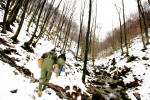 Fishkeepers hike up a gorge to insert eyed eggs into Martinkov potok. Martinkov potok is one of the newer streams that were cleared before pure Marble trout was introduced. They sweep it with a generator in spring and autumn at least three times, before they can be sure it is empty.