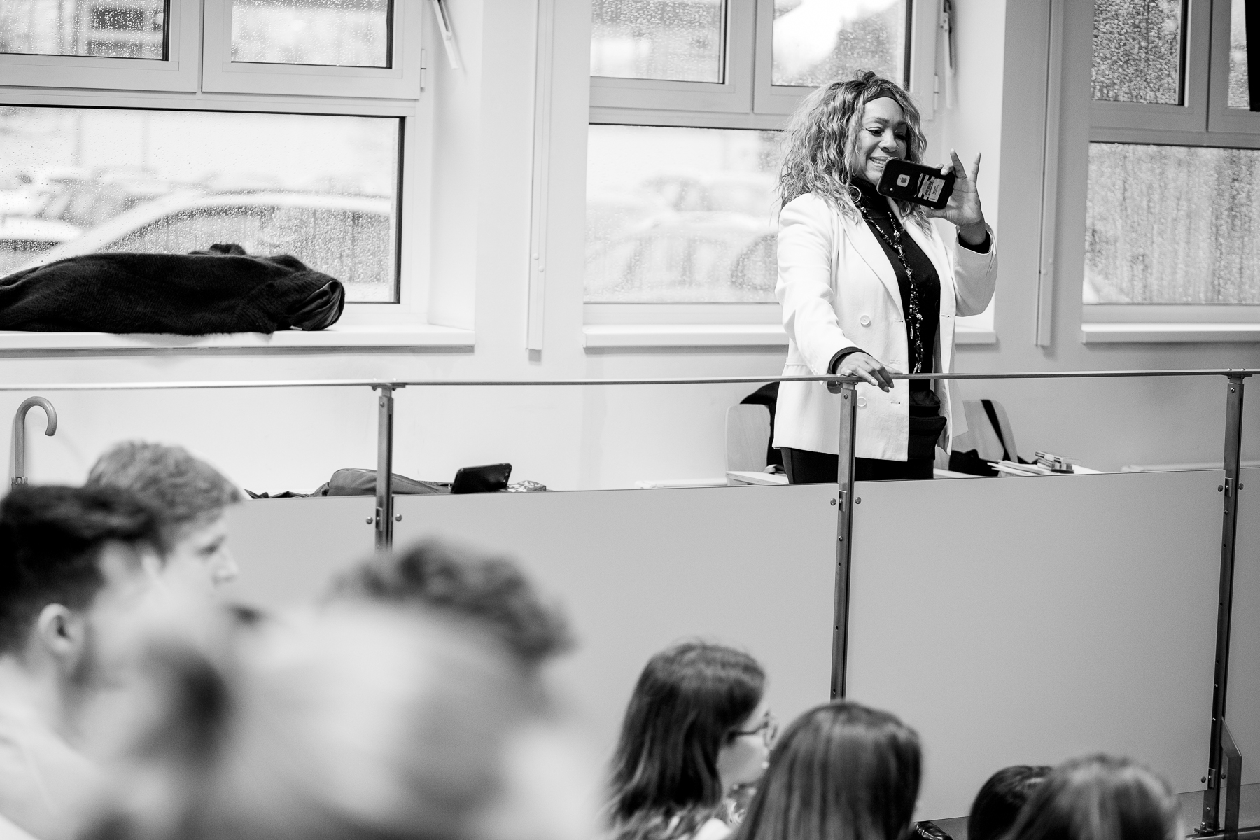 Mary Wilson of the Supremes takes a picture of the audience at her talk at the Šentvid high school in Ljubljana, Slovenia, February 4, 2020.