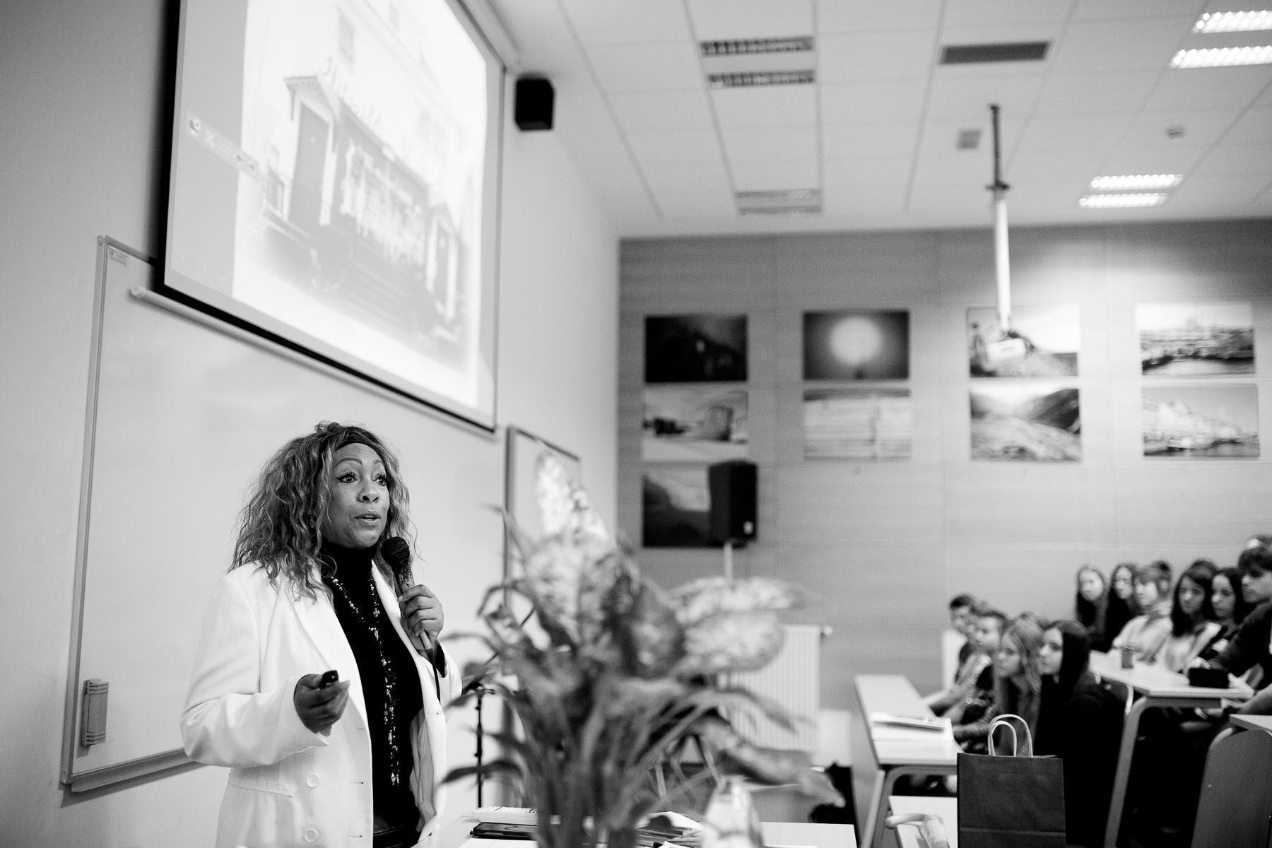 Mary Wilson of the Supremes talks to high school students of Šentvid high school in Ljubljana, Slovenia, February 4, 2020.