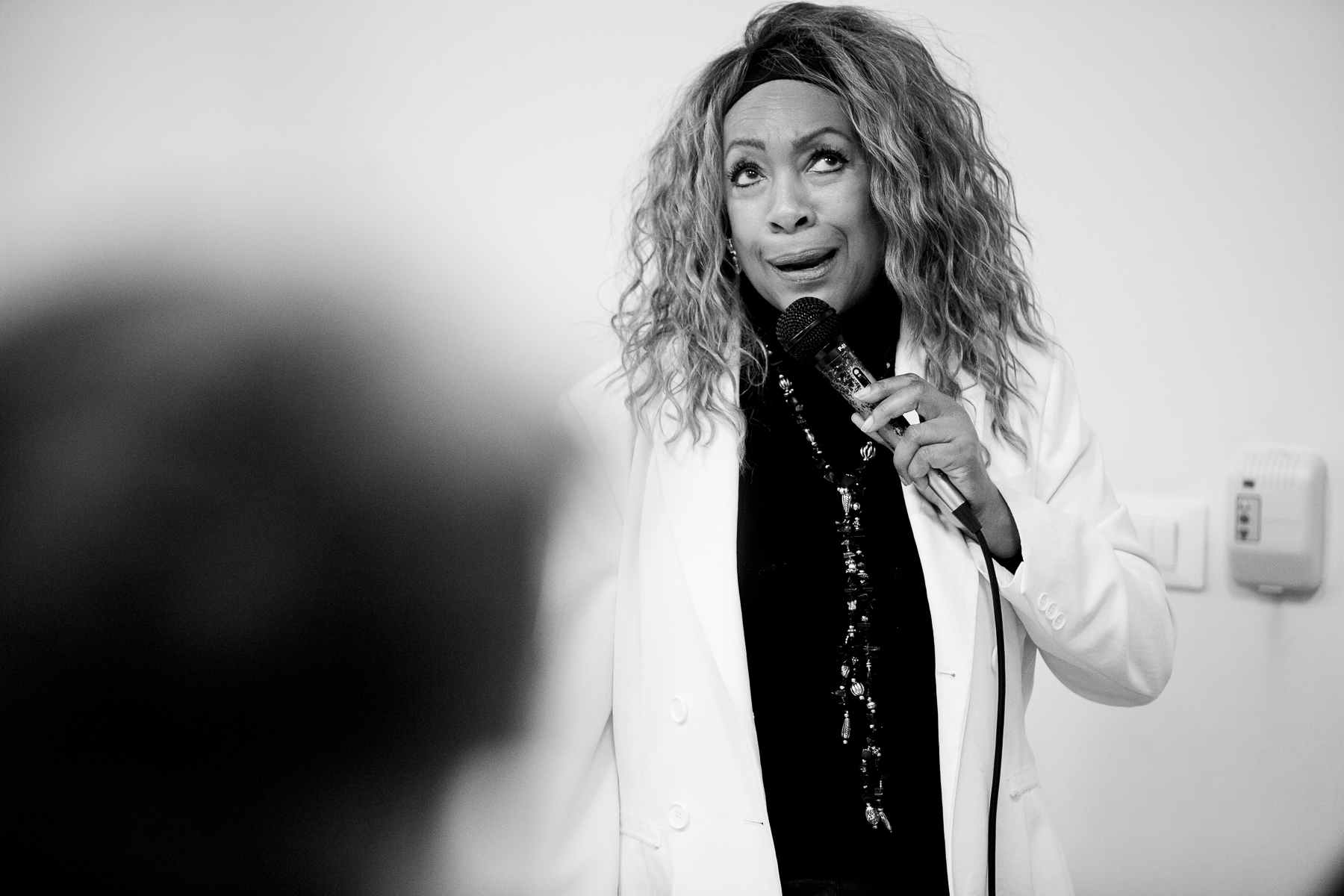 Mary Wilson of the Supremes talks to high school students of Šentvid high school in Ljubljana, Slovenia, February 4, 2020.