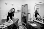 Mary Wilson of the Supremes irons her cover ups backstage before the concert in Maribor, Slovenia, February 4, 2020.