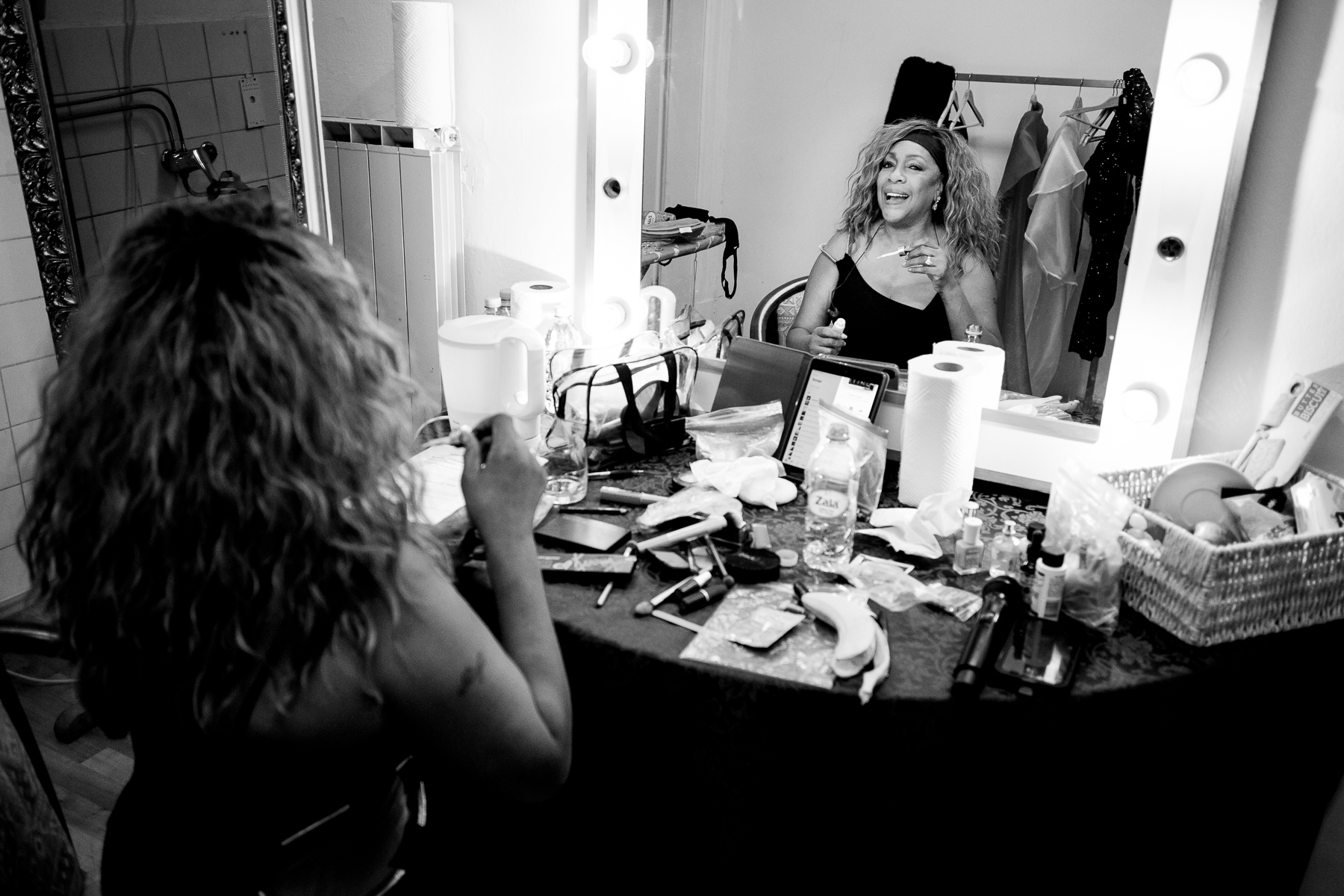 Mary Wilson of the Supremes applying makeup backstage before the concert in Maribor, Slovenia, February 4, 2020.