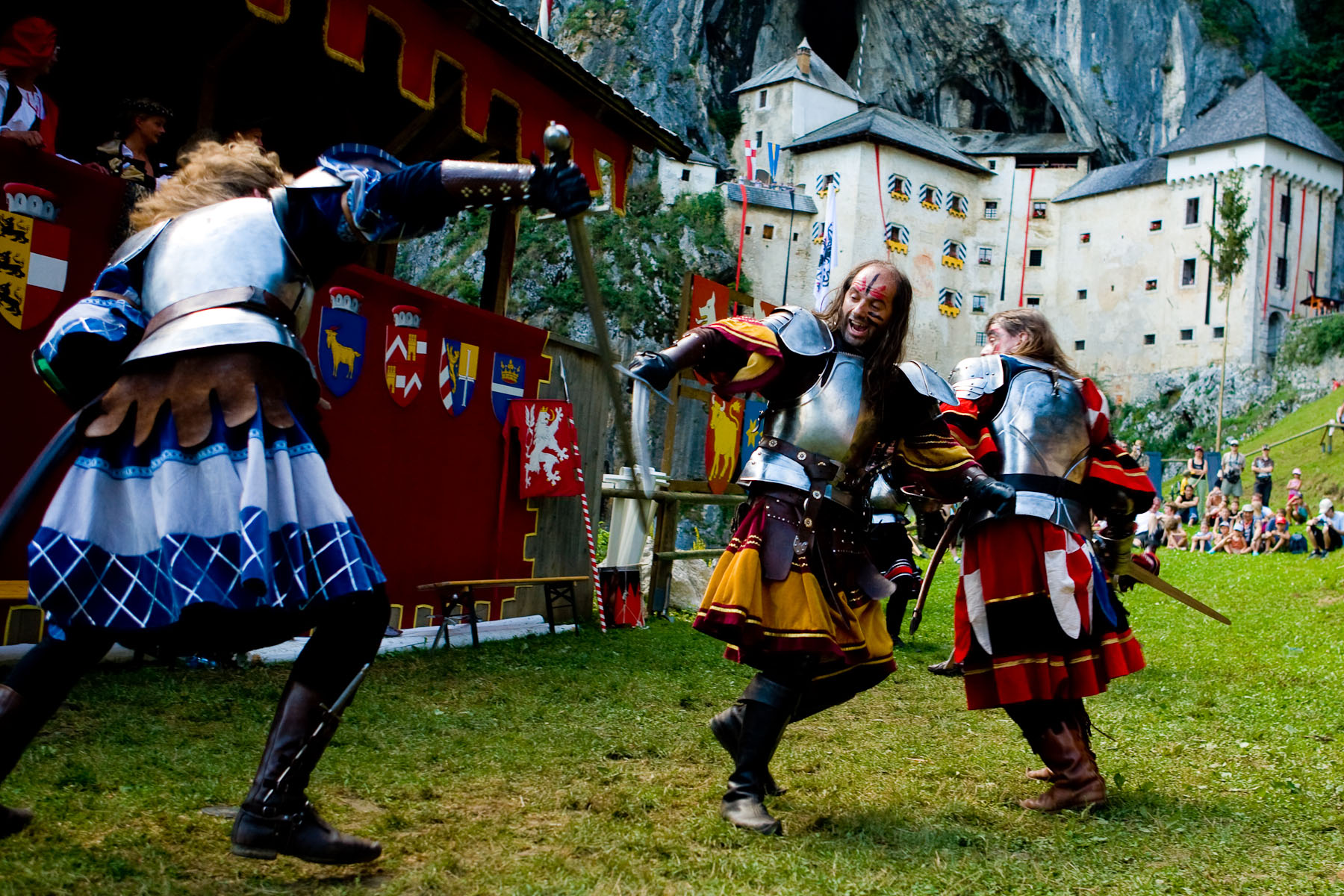 Czech knight group performs at the Erazem's Knight Tournament in Predjama, Slovenia, on July 27, 2008.