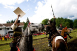 A team of horsemen celebrates victory at a Medieval event in Bled, on June 8, 2008.