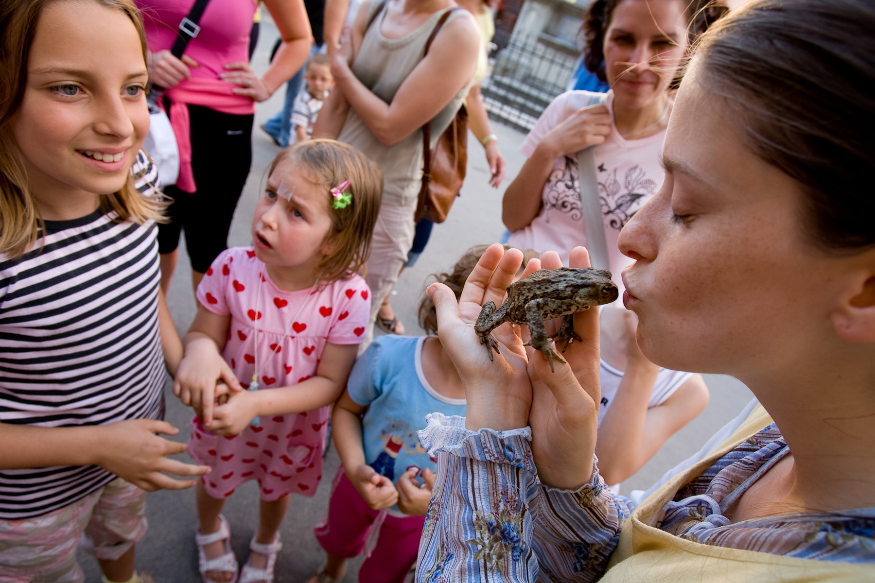 A street performer kisses a frog in Skofja Loka, Slovenia, on June 21, 2008. Frogs and snakes are a common part of buffoon performances and attract crowds of people.