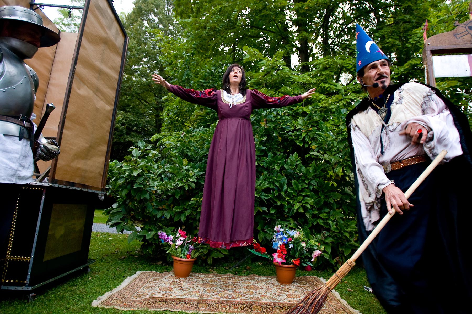 A magician performs during a Medieval event in Otočec, Slovenia, on September 21, 2008. There is no Middle Ages without witches. In a performance by a magician called Saturn, a witch is identified and burnt for the audience, old and young.