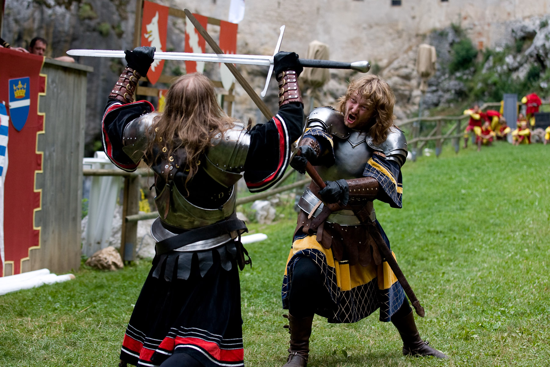Czech knight group Rekruti performs at the Erazem's Knight Tournament in Predjama, Slovenia, on July 26, 2008.