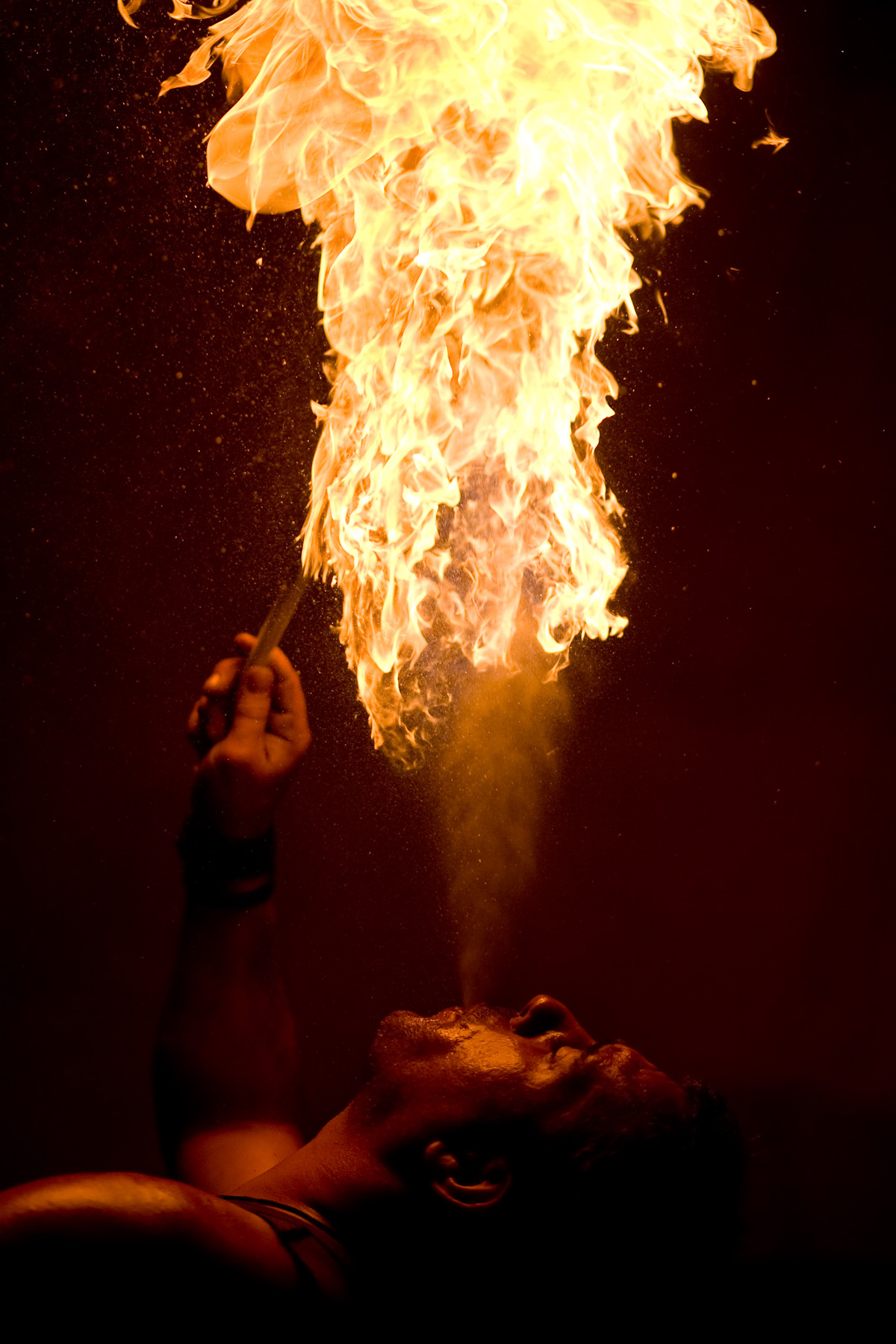 A firebreather performs during the Fiery Carthusia Medieval event in the Zice Carthusian Monastery on July 22, 2007. Firebreathers are an essential part of Medieval events, but they were hard to find when these events kicked off. Today, they are plenty.