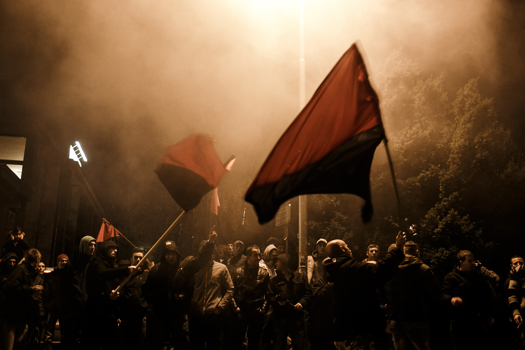 People protest during anti-government protests in Kranj, Slovenia on November 29, 2012.