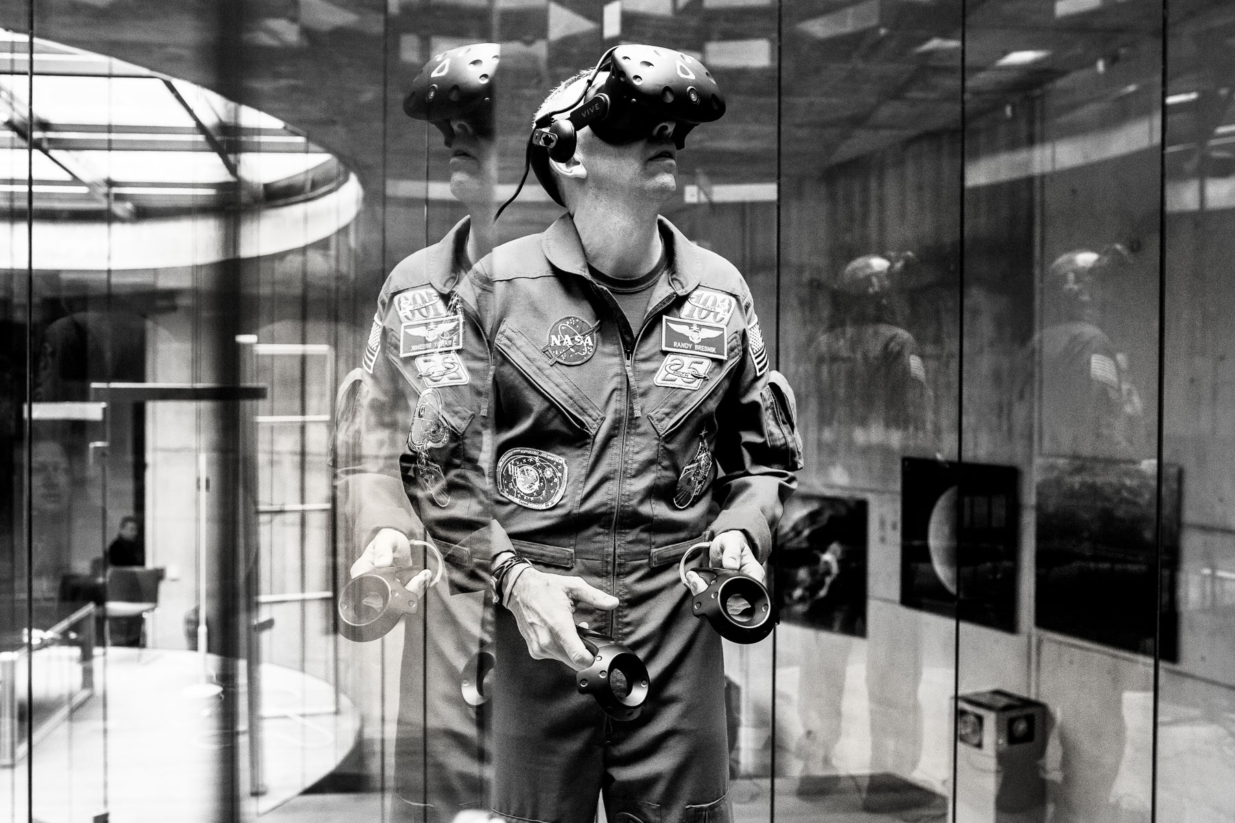 Randy plays a virtual reality space game during a visit to the Herman Potocnik Noordung space center in Vitanje on his second day of visit to Slovenia, the country of his ancestors.