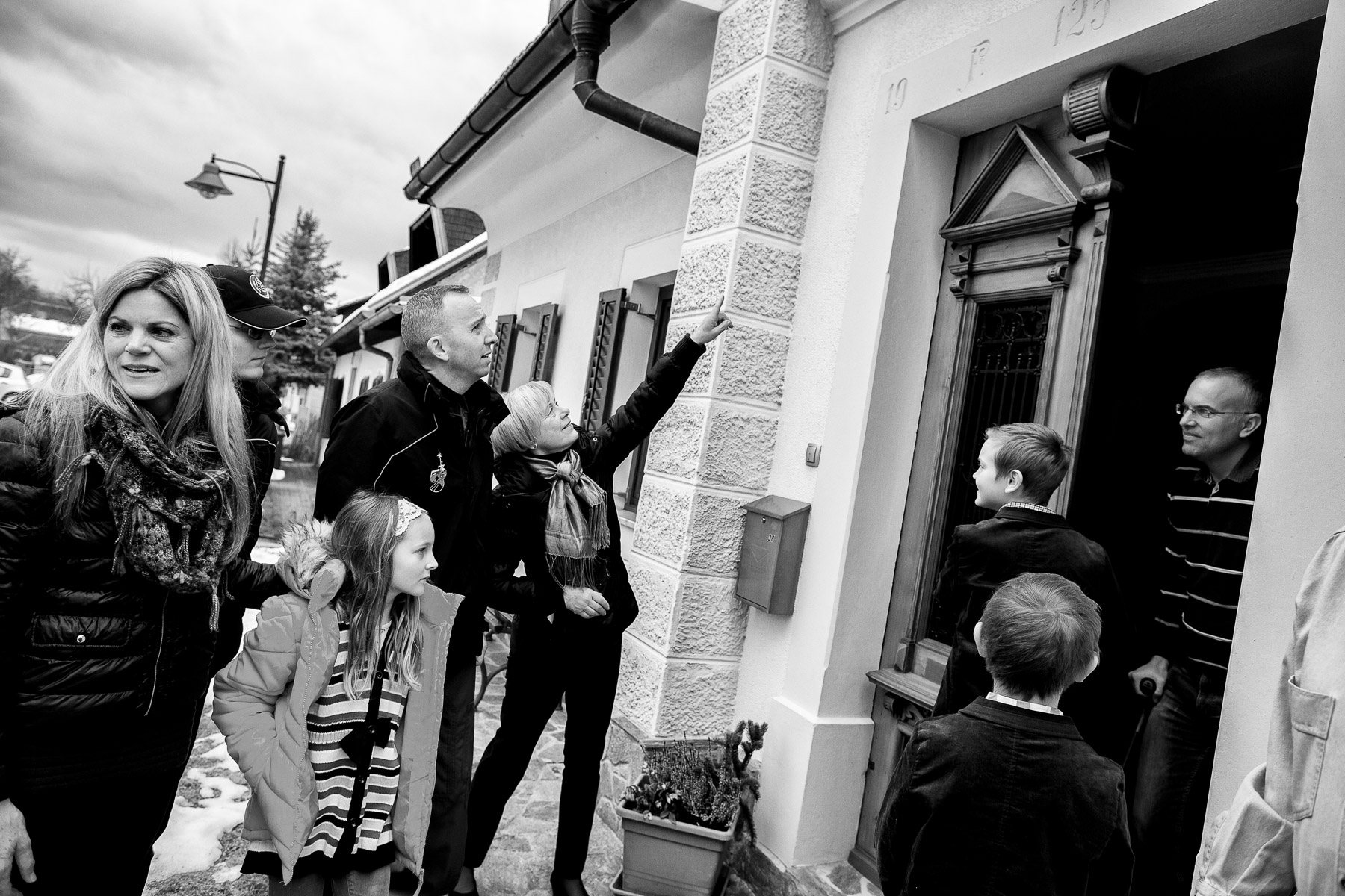The Bresnik family visit the house where Randy's great-grandmother lived in Ljubno, Slovenia.