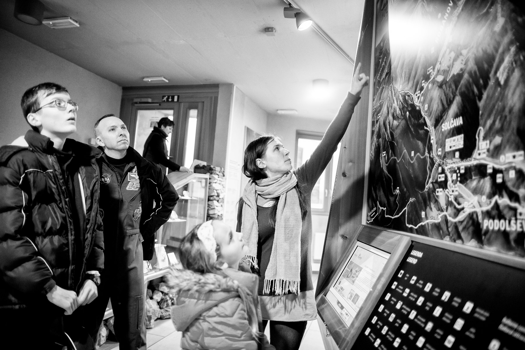 Randy and his son are shown a map of the area around Ljubno, Luce and Solcava in the Solcava tourist information center.