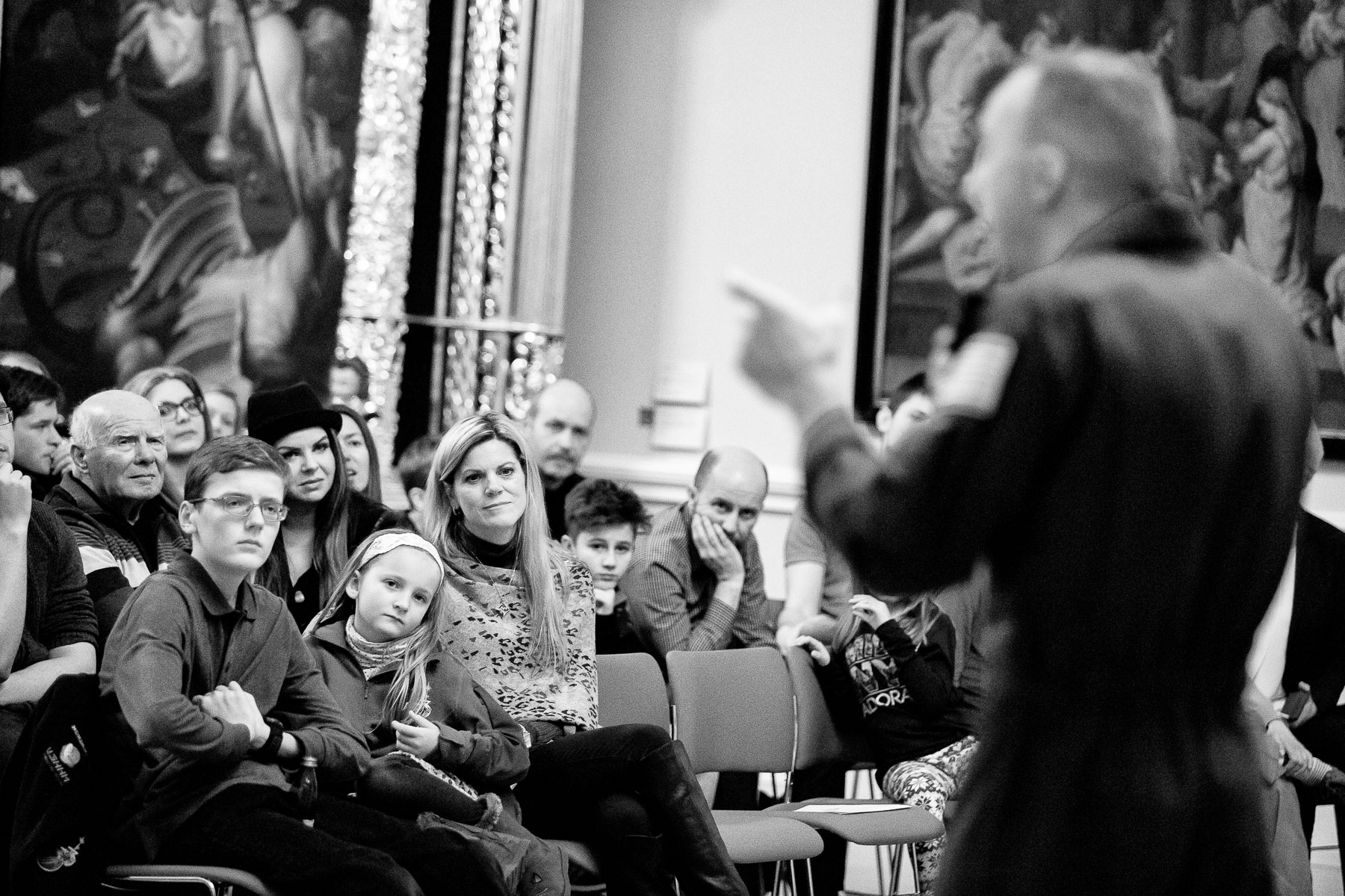 Randy's family listens to his final presentation on their 4-day visit to Slovenia in the National Gallery in Ljubljana.