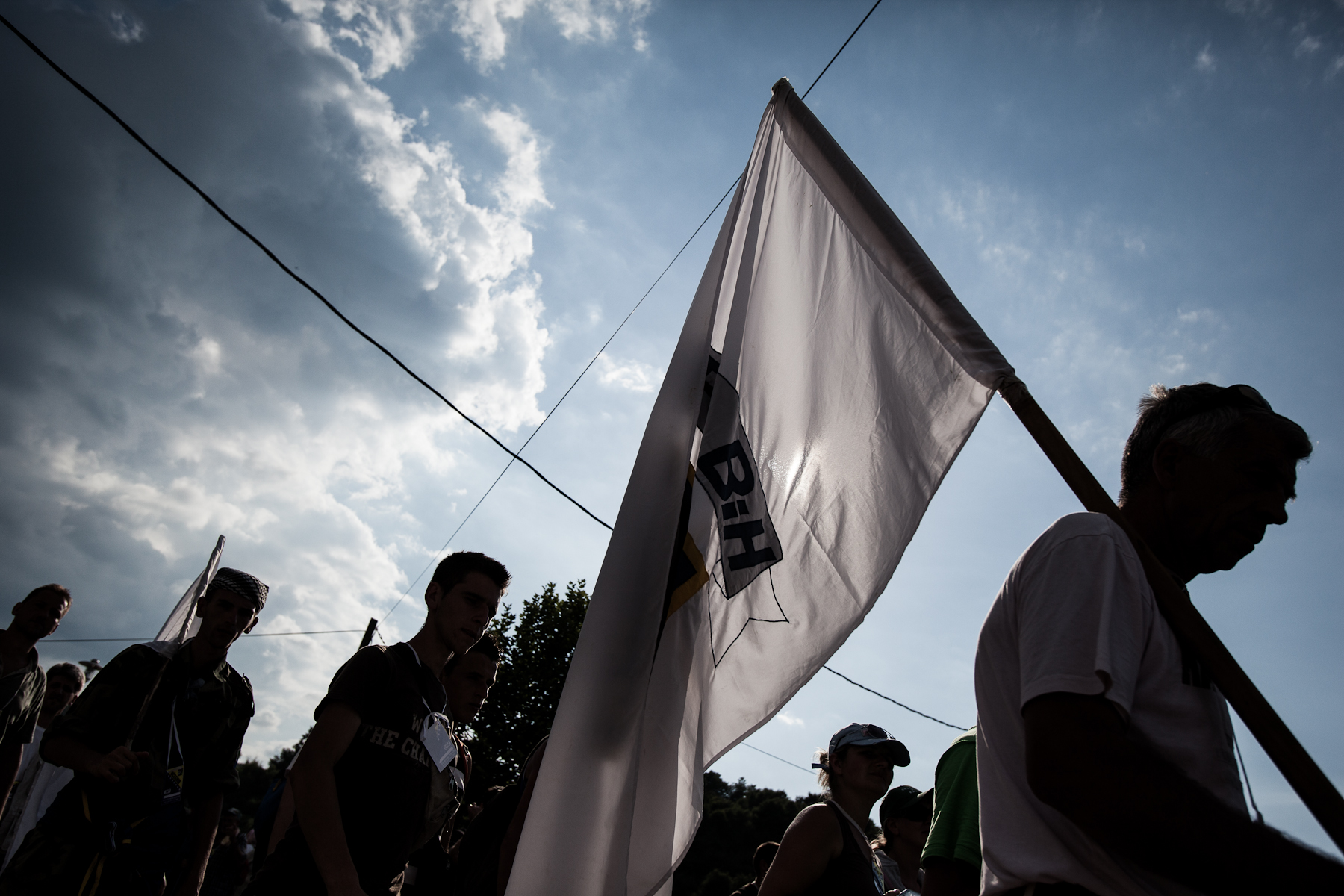 Hikers on an annual March of Peace arrive to the Potocari memorial center in Srebrenica, July 10, 2010.