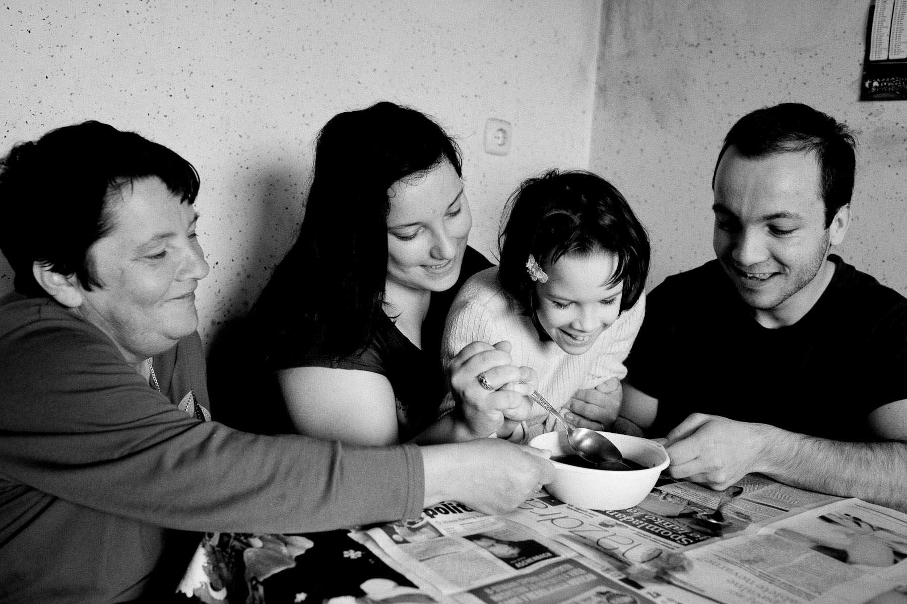 Barbara's mother Bozena, her sister Petra and brother Andrej help Barbara paint easter eggs during easter holidays in their home in Zavrc, Slovenia, April 7, 2012.