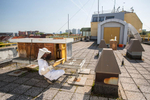 Žiga Logonder inspects beehives on the rooftop of Slovenian Environment Agency.
