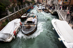 Heavy traffic in the narrow canals of the city of Venice displaces a lot of water and causes strong wave action. Continuous striking of waves against the facades causes damage to the buildings, destabilizes them and weakens the foundations.