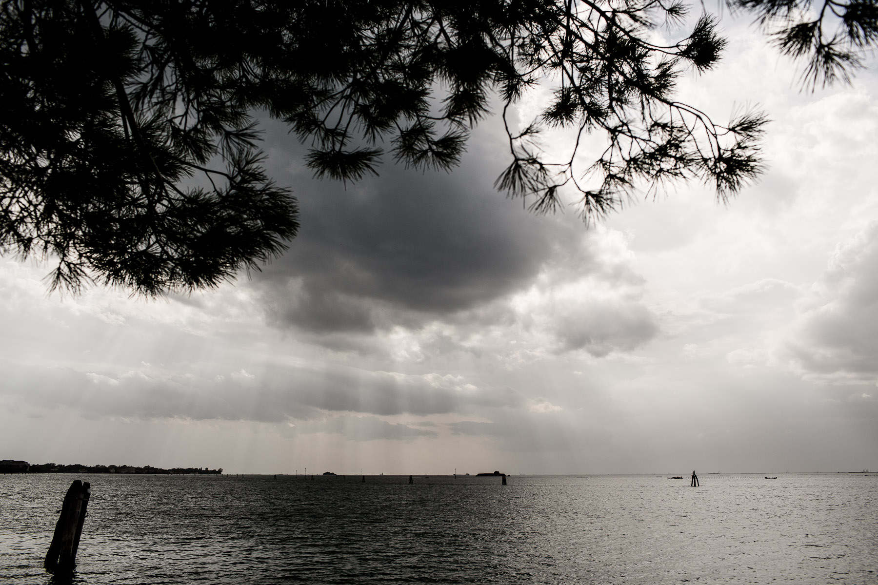 A storm brews over the lagoon near the Lido barrier island on September 26, 2012. In recent years, the Veneto region has seen many severe storms, some even produced tornadoes.