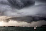 A storm looms over the city of Venice on September 26, 2012. Venice is subject to strong storms, Bora and scirocco winds that bring waves and high tides that eventually flood the city. Storms at sea and inland are especially dangerous. The open sea storms bring tides, while the inland storms bring flooding from rivers that flow into the lagoon.