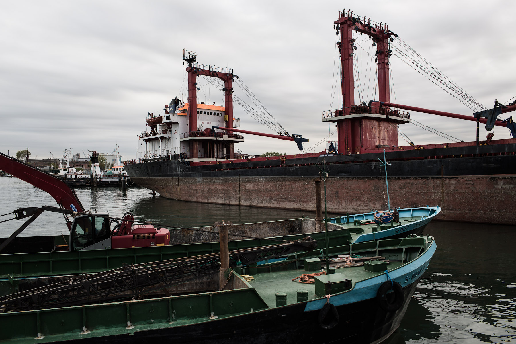 The Marghera port is a sight very far from the beauty of Venice. Rusting steel of large cargo ships and heavy machinery. It lies just a couple of kilometers from the city of Venice.