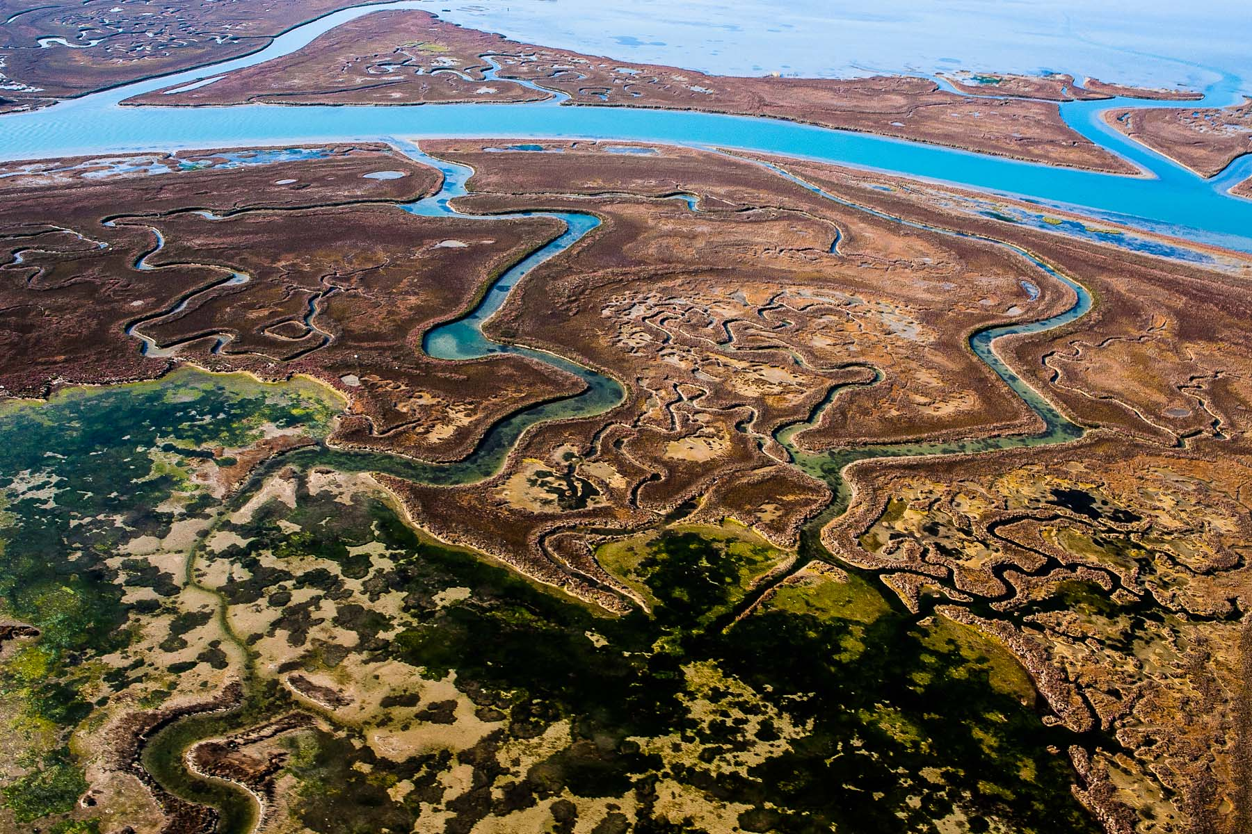 Typical lagoon structures consist of mudlats, salt marshes and meandering canals used to navigate through to the islands in the lagoon.