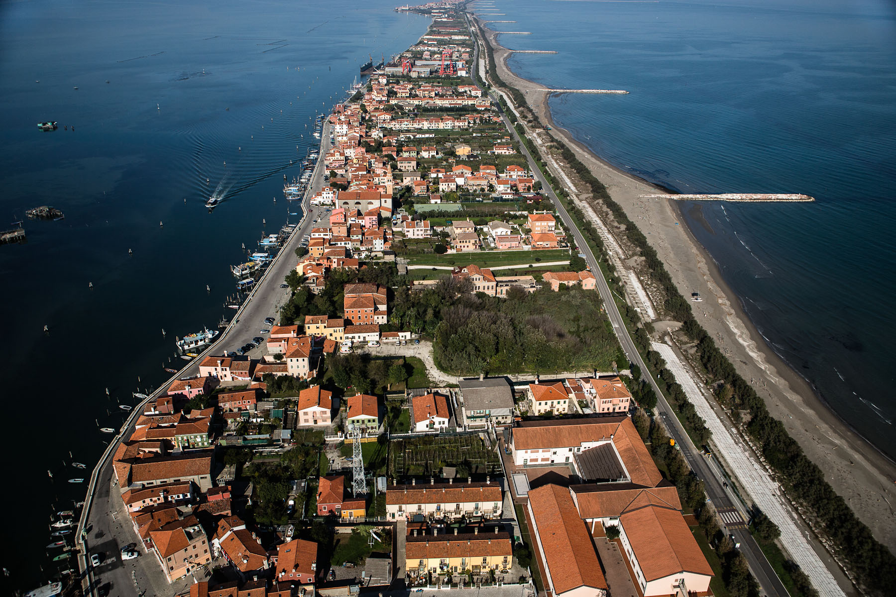 The murazzi wall runs the entire length of the Pellestrina barrier island, and a part of Lido island further north. Furthermore, the entire sea coast has been reinforced.