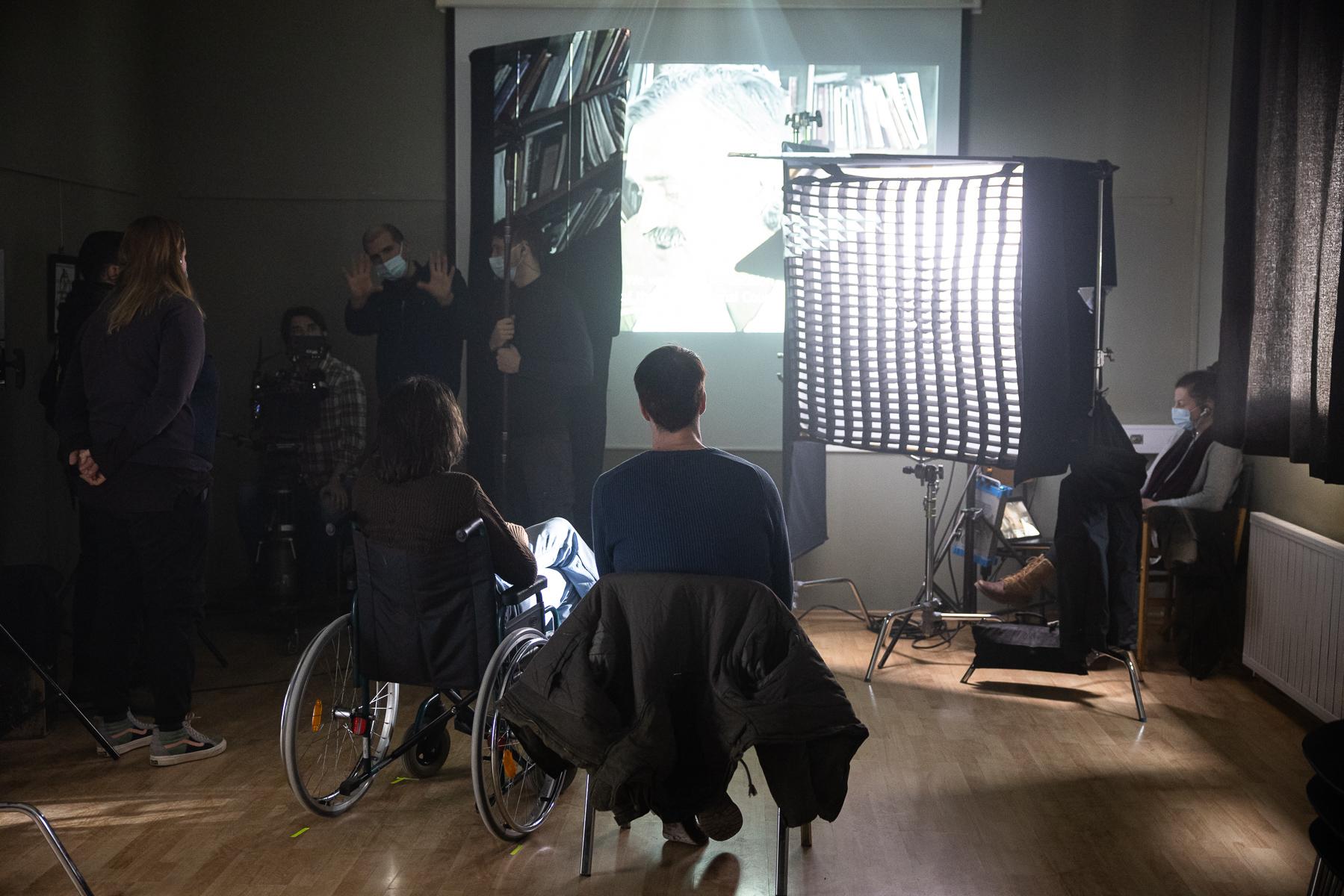 Actors Blaž Setnikar and Jure Henigman  on the set of Wake Me.