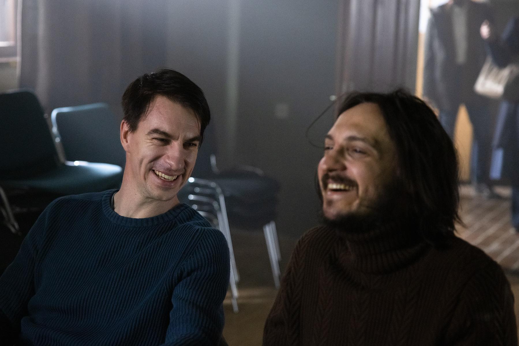 Actors Jure Henigman and Blaž Setnikar on the set of Wake Me.
