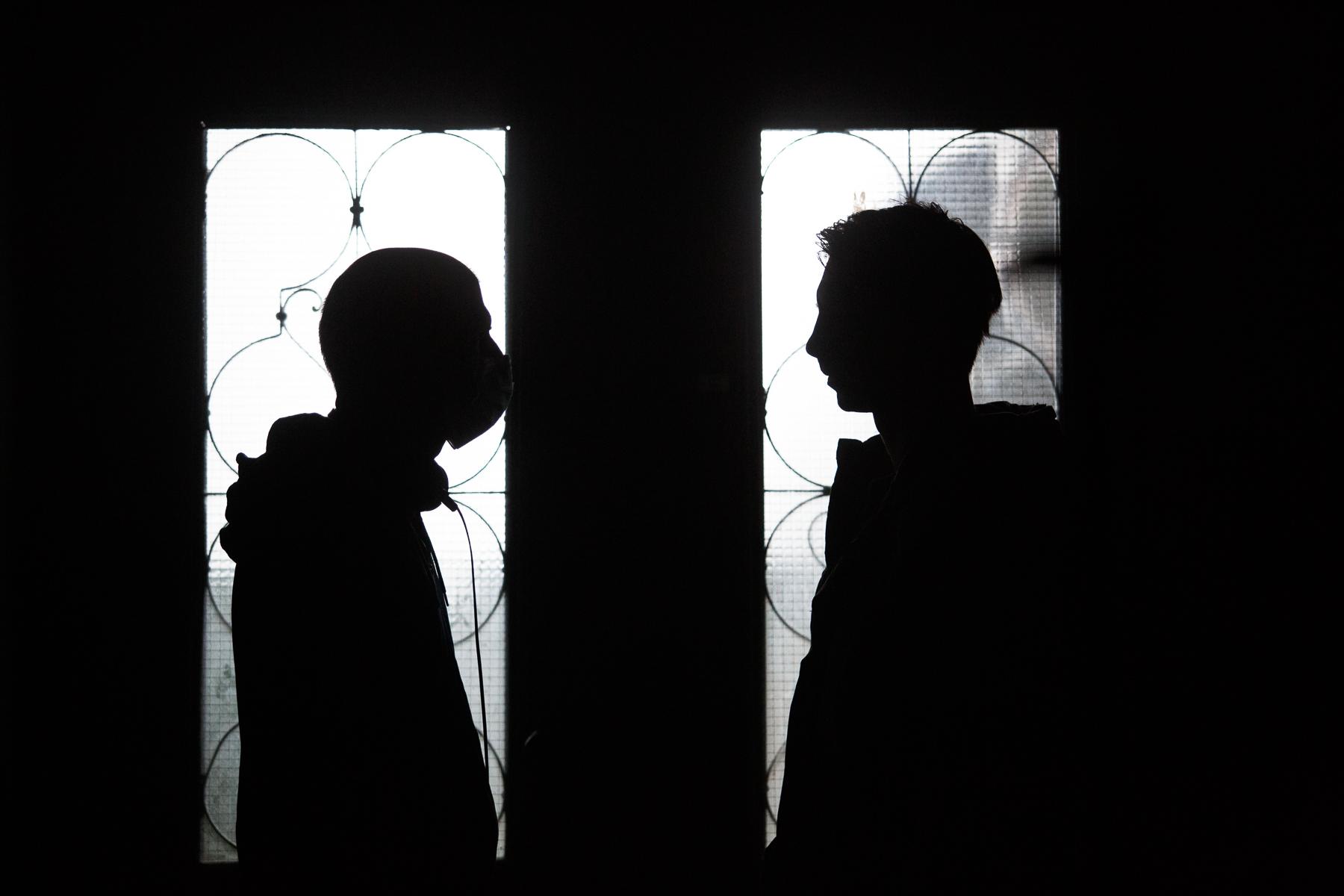 Director Marko Šantić and lead actor Jure Henigman on the set of Wake Me.