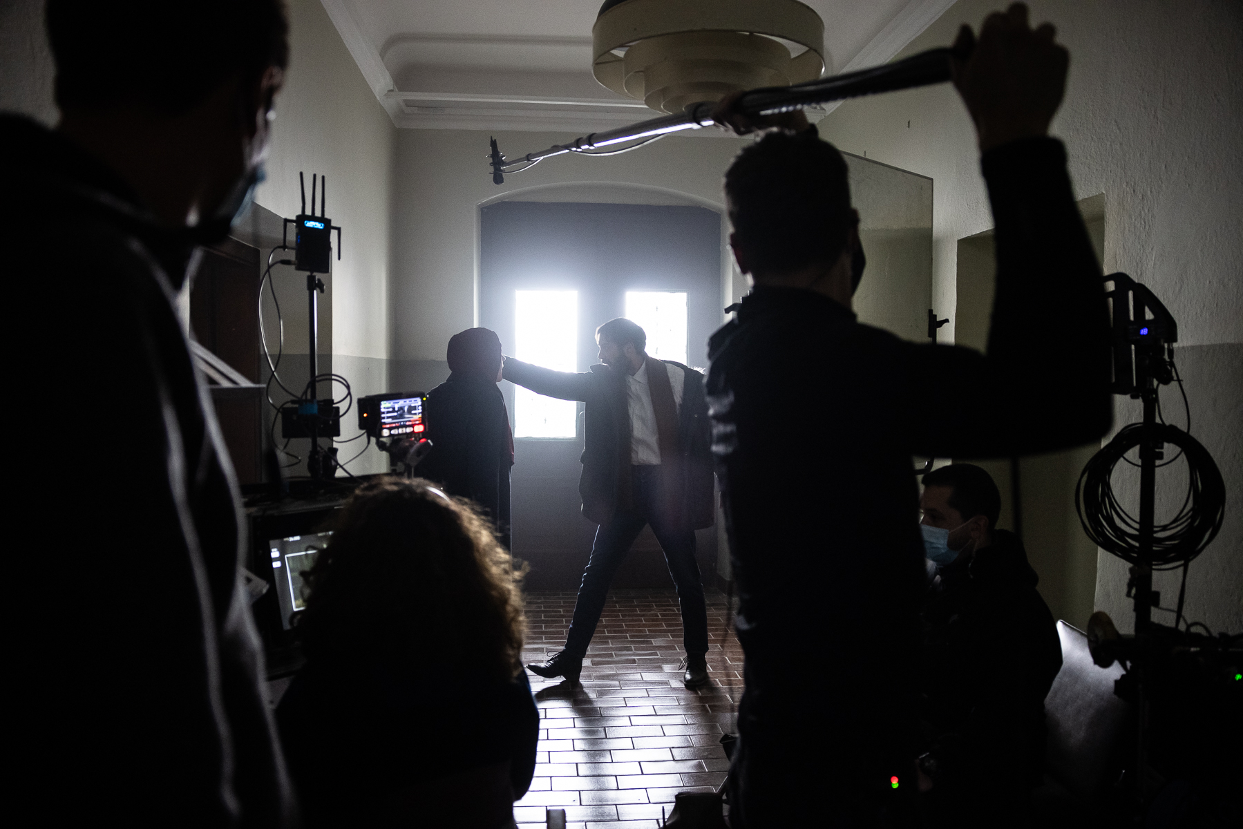 Actors Benjamin Krnetić and Tamara Avguštin filming a scene for Wake Me.