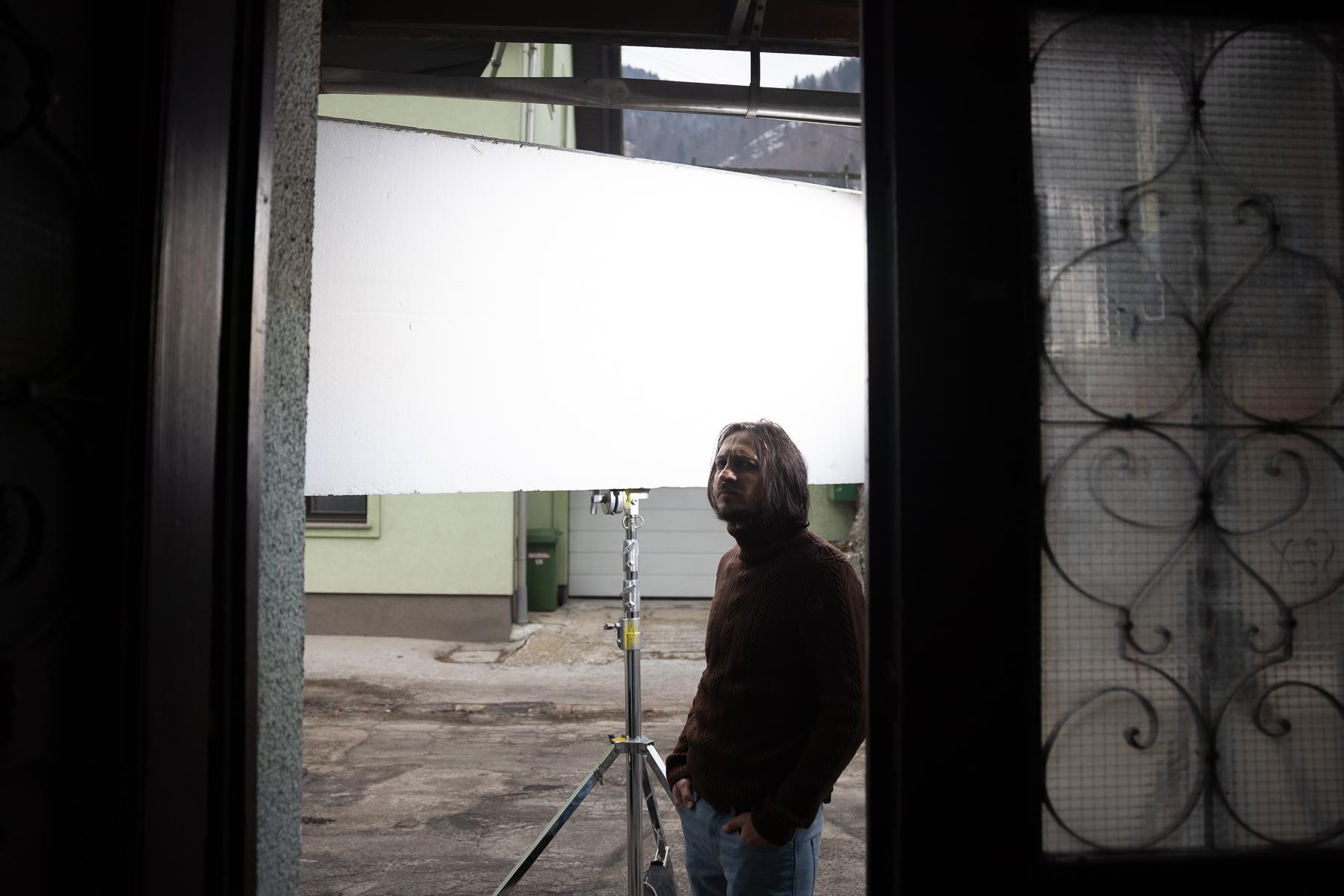Actor Blaž Setnikar on the set of Wake Me.