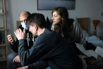 Director Marko Šantić and actors Živa Selan and Jure Henigman on the set of Wake Me.