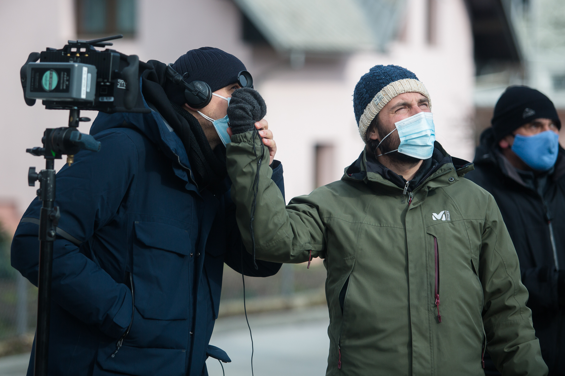 Director Marko Šantić and Director of photography Ivan Zadro on the set of Wake Me.